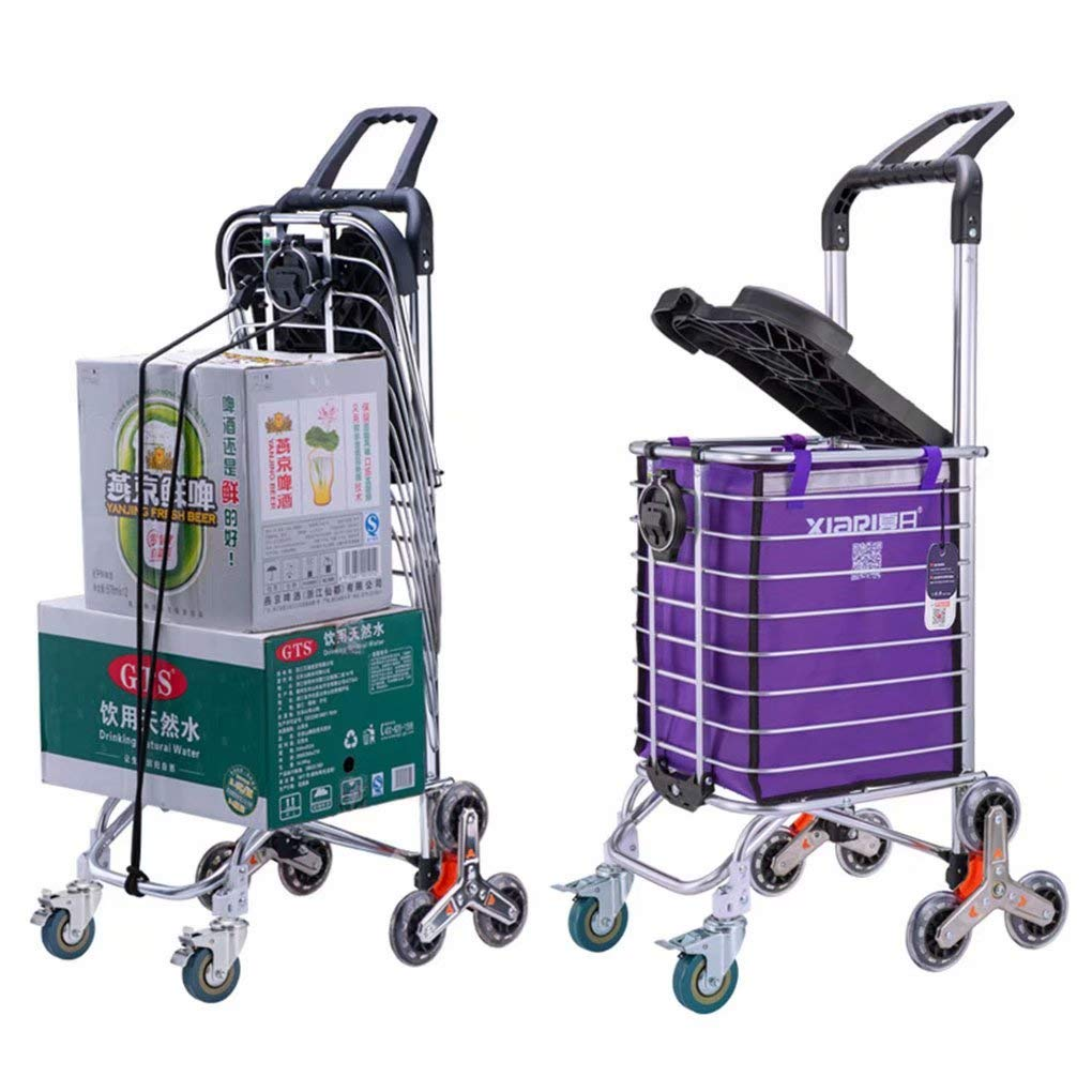 AA-SS Carrito de Compras Plegable Utilidad de supermercado portátil Carrito para Subir escaleras Ligero 35L Rueda Triangular Enrollable de Gran Capacidad y Bolsa de Lona extraíble: Amazon.es: Hogar