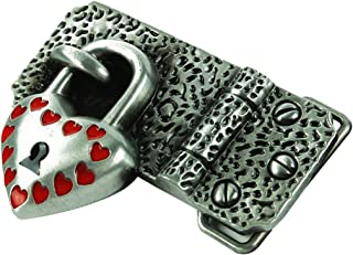 D DOLITY Classic Western Belt Buckle 3D Heart Lock Metal Cowboy Cowgirl Alloy Buckles
