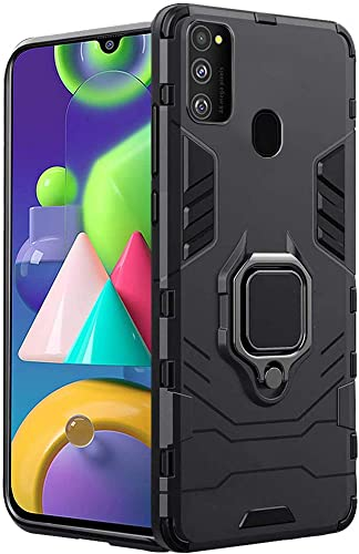 Thegiftkart Samsung Galaxy M21 M30s Tough Armor Bumper Back Case Cover Ring Holder Kickstand In Built Excellent 360 Degree Protection Carbon Black