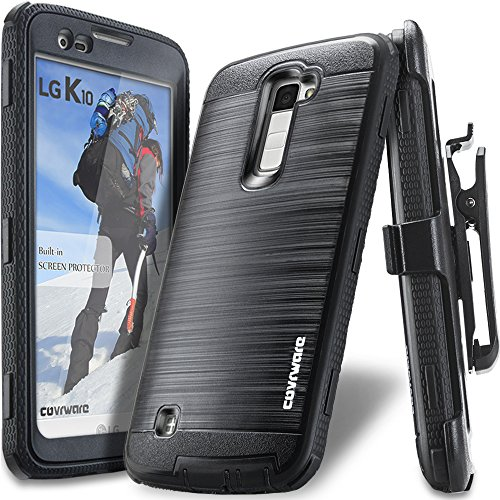 COVRWARE Iron Tank Case Compatible with LG K10 / LG Premier LTE with Built-in [Screen Protector] Heavy Duty Full-Body Rugged Holster Armor [Brushed Metal Texture] Case [Belt Clip][Kickstand], Black