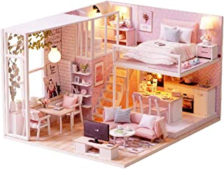 Queenbox DIY Dollhouse Miniature with Furniture, Mini Wooden Handmade House, Best Birthday Gifts Idea (Tranquil Life)