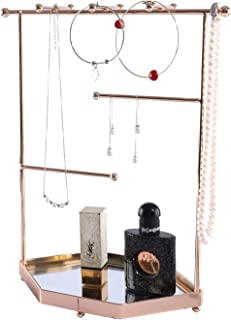 GLOVAL HOME Gold Jewelry Organizer, Gold Jewelry Stand, Decorative Jewelry Holder Display with Glass Tray for Necklaces, Bracelets, Earrings & Rings, Champagne Gold