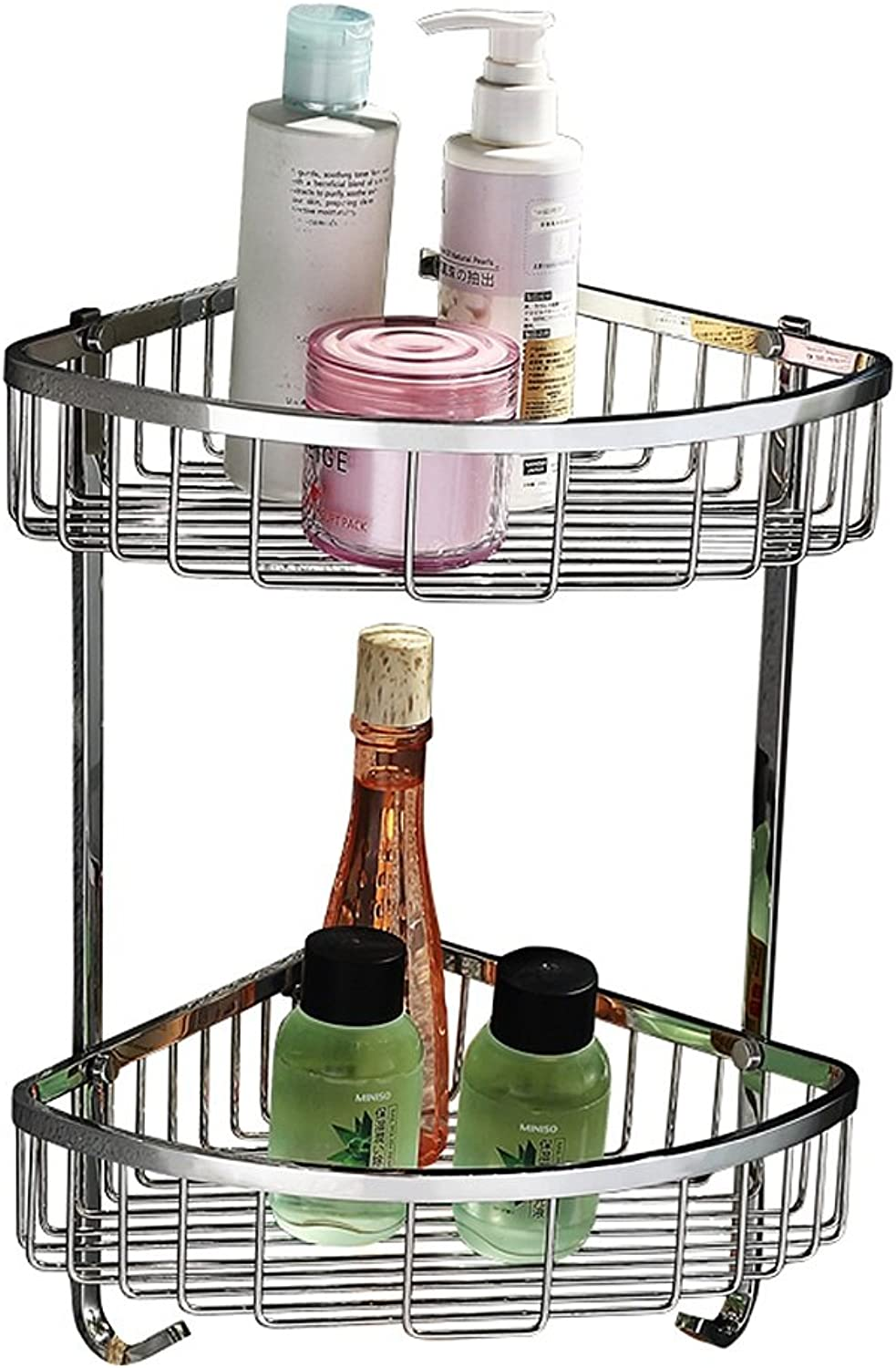 Yxsd Silver Stainless Steel Bathroom Storage Rack, 2 Tier Kitchen Bathroom Wall Rack Storage Net Basket, 360  220  220mm