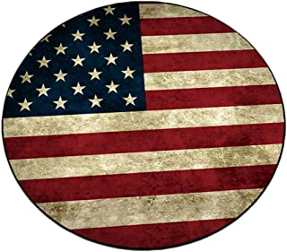Round Area Rugs Independence Day Decorations Retro Vintage American Flag Print 4th of July Freedom Inspire Super Soft Small Cute Circle Floor Carpets for Living Room Fur Mat