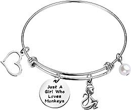 Monkey Bangle Bracelet,Free Shipping,Ceramic Monkey StainlessCharm Not My Circus,Not My Monkeys,Banana Charms,Great GIft For Monkey Lover