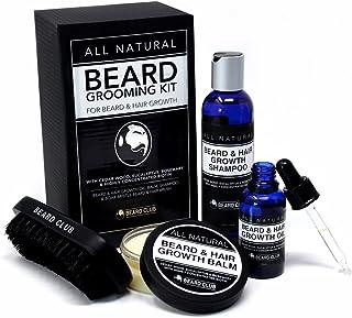 Kit de Aseo Para Barba Completamente Natural | Crecimiento de la Barba y del Vello | Aceite, Bálsamo, Champú y Cepillo Para Barba | El Mejor Kit de Regalo Para el Cuidado de la Barba