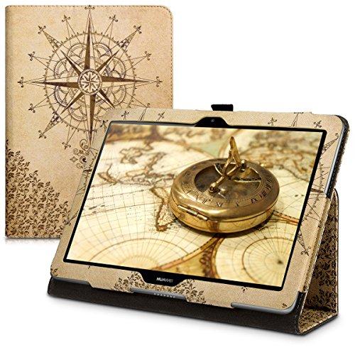 kwmobile Hülle kompatibel mit Huawei MediaPad T3 10 - Slim Tablet Cover Case Schutzhülle mit Ständer Kompass Barock Dunkelbraun Beige