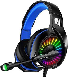 WZTO Auriculares Gaming para PS4, PC, Xbox One, Auriculares con Micrófono RGB LED, Casco Gaming Auriculares para Nintendo Switch Playstation móvil Computadora Móvil