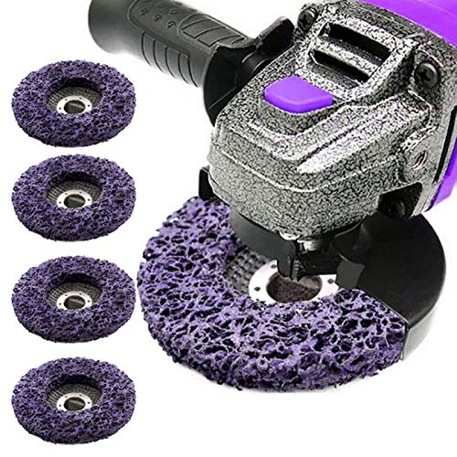 Soaoun 5PCS Poly Strip Wheel Disc Abrasive Angel Grinders Clean Tool for Rust Paint Flaking Materials Removal Purple
