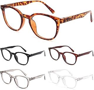 BLS 5 Pack Reading Glasses Blue Light Blocking Women/Men, Computer Readers Anti UV Ray/Eye Strain/Glare Round Eyeglasses
