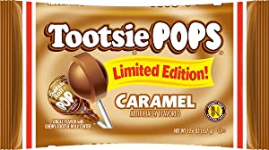 Tootsie Pops Limited Edition Individually Wrapped Single Flavor Lollipops with Tootsie Roll Center, Caramel, 12.6 Ounce