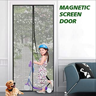 """MLJTECH 35""""x79"""" Black Magnetic Fly Screens for Door Screen Mesh Door with Heavy Duty Mesh-Keep Bugs Out,Close Automatically"""