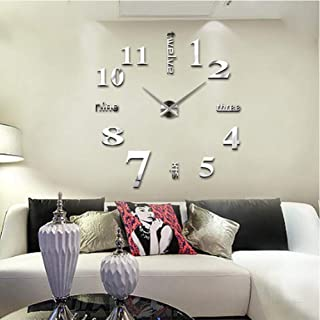 Large DIY Wall Clock Frameless 3D Mirror Surface Wall Clock Creative Mute Wall Stickers for Home Living Room Office Decoration Gifts (Silver)
