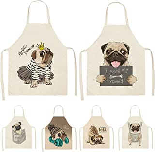 Apron,Cute Dog Pug Printed Cotton Linen Sleeveless Apron Kitchen Aprons Women Home Cooking Baking Waist Bib Pinafore 53 * ...
