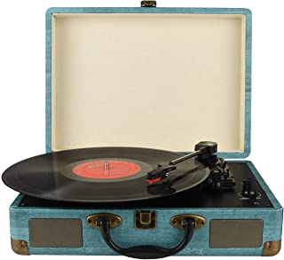 Record Player Vintage 3-Speed Bluetooth Vinyl Turntable with Stereo Speaker, Belt Driven Suitcase Vinyl Record Player