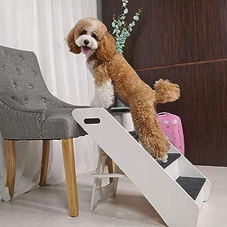 thegreatshopman White Wood Pet Stair Medium Folding Steps Pet Ramp Ladder