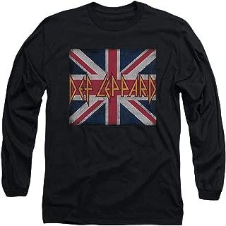 Def Leppard Logo Union Jack 80s Rock Longsleeve T Shirt & Stickers