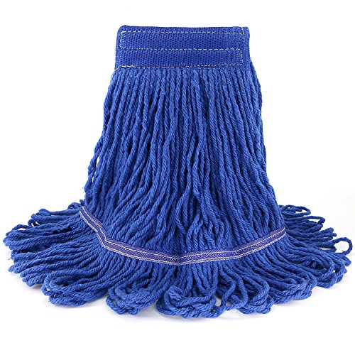 Tidy Monster Loop-End Cotton String Mop Head, Heavy Duty String Mop Refills, 6 Inch Headband, Mop Head Replacement for Home, Industrial and Commercial Use (Blue)