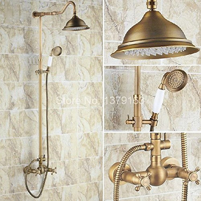 Luxury Bathroom Rain Shower Faucet Set Antique Brass Handheld Shower Head Two Cross Handles Bath Mixer Tap ars136