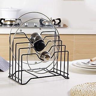 Organisateur de cuisine en métal pour ranger couvercles de casseroles, planches à découper et support d'ustensiles