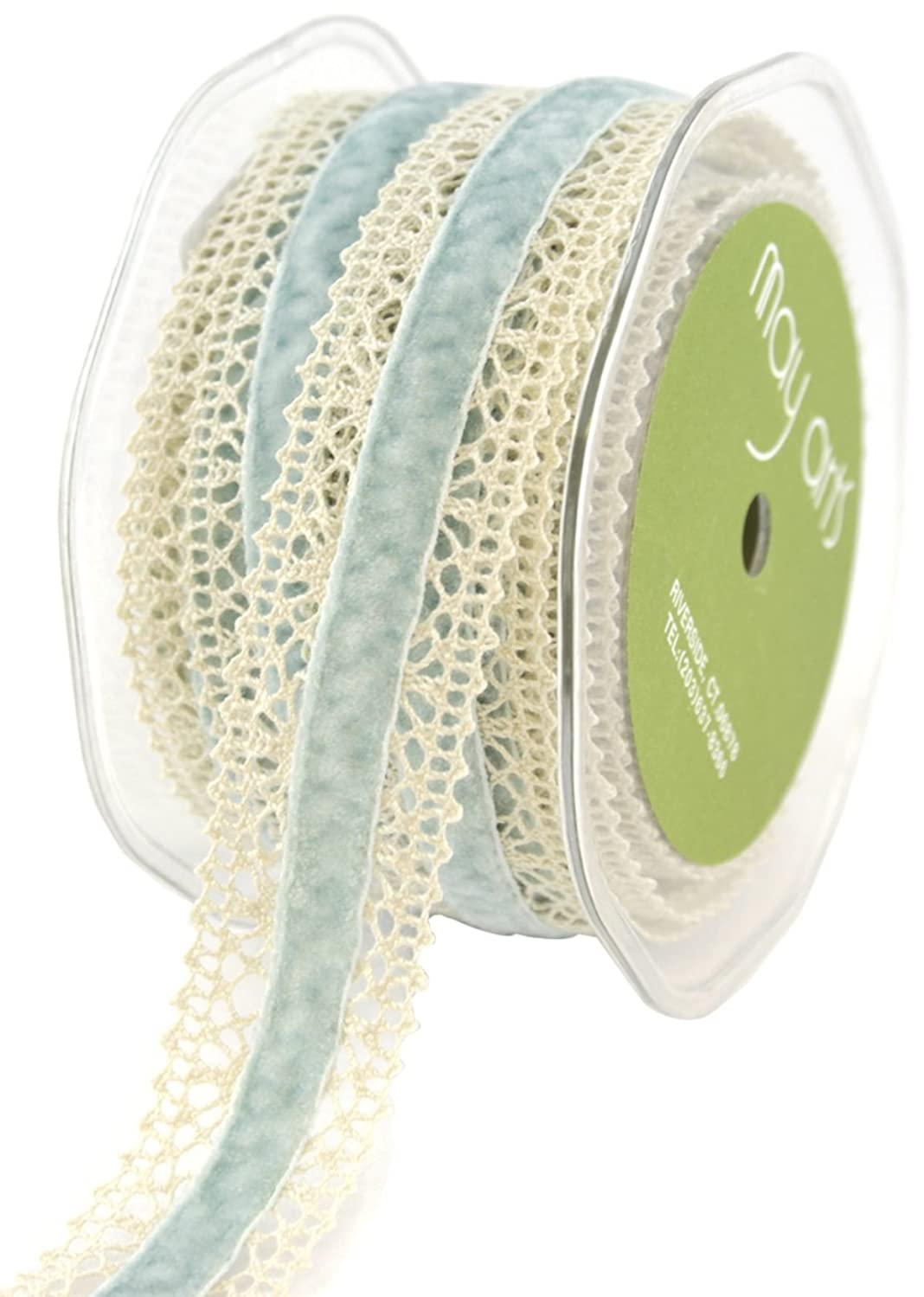 May Arts 1-Inch Wide Ribbon, Ivory Crochet with Light Blue Velvet