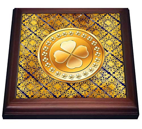 3dRose Image of Large Shamrock Coin on Celtic Design, Gold, Black - Trivets (trv_334024_1)