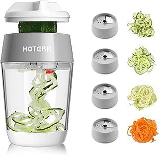 HOTERB Coupe Légumes Spirale 4 en 1,Mis à Jour Spiraliseur de Légumes Spiralizer Legume Trancheur Legumes,Grise Coupe Légu...