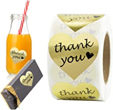 """Thank You Stickers Gold Foil Labels Roll, 1.5"""" Heart Shape Decorative Stickers for Thank You Cards, Packages, Gifts, Weddi..."""