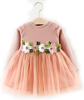 [もうほうきょう] ガールズワンピース レーススカート 王女スカート ドレス  可愛い 綺麗 女の子 春秋 子供服 膝丈 花柄