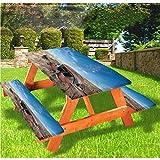 LEWIS FRANKLIN - Mantel ajustable para mesa de picnic y banco, estilo antiguo Rusty Auto en Nuevo México con borde elástico, 70,8 x 172,8 cm, juego de 3 piezas para mesa plegable