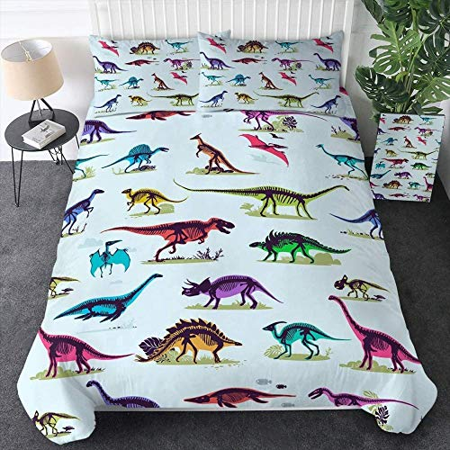 Rvvaceo Double Bed Duvet Covers Set Microfiber Silky Duvet Covers Set Soft Hypoallergenic, Easy Care 1 Quilt Cover+2 Pillowcases-Single (135 X 200 Cm) Creative Colorful Dinosaur Animal