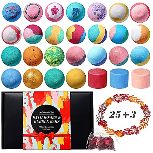25 Pcs Organic Bath Bombs with 3 Bubble Bars and 2 Pack Dried Flowers, Handmade Bath Bomb with Essential Oil & Coconut Oil & Shea Butter to Moisturize Skin, Ideal Gift for Women, Man, Kids, Birthday
