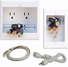 PowerBridge TWO-PRO-6 Dual Power Outlet Professional Grade Recessed In-Wall Cable Management System for Wall-Mounted Flat ...