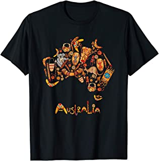 TIANLANGHB Australia Map Iconic Traditional Souvenir Gift T-Shirt