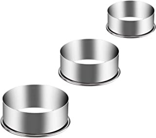 KSPOWWIN Stainless Steel Round Cookie Cutter Set 3 Pieces Big Size Circle Pastry Dough Cutter Set Round Cake Baking Metal Ring Molds - 6inch, 5inch, 4inch