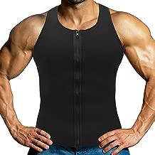 HOPLYNN Men Sauna Vest for Weightloss, Neoprene Waist Trainer Hot Corset Compression Sweat Vest Body Shaper, Zipper Slimming Tank Top Workout Shirt