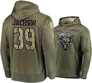 Dunbrooke Apparel Chicago Bears #39 Eddie Jackson Mens Salute to Service Hoodie - Olive