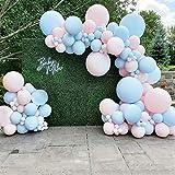 Kit arco con ghirlanda di palloncini rosa blu, 110 pezzi Palloncini blu baby rosa palloncini bianchi Decorazioni per feste rivelatrici di genere, per lui o lei festa, festa di ragazzo o ragazza