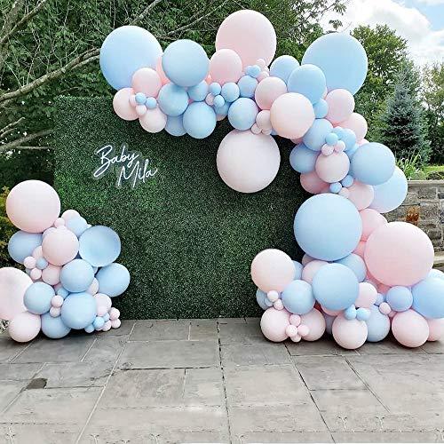 Kit de arco de guirnalda de globos azul rosa, 110 globos de bebé que revelan el género, para fiestas de él o ella, fiesta de niño o niña