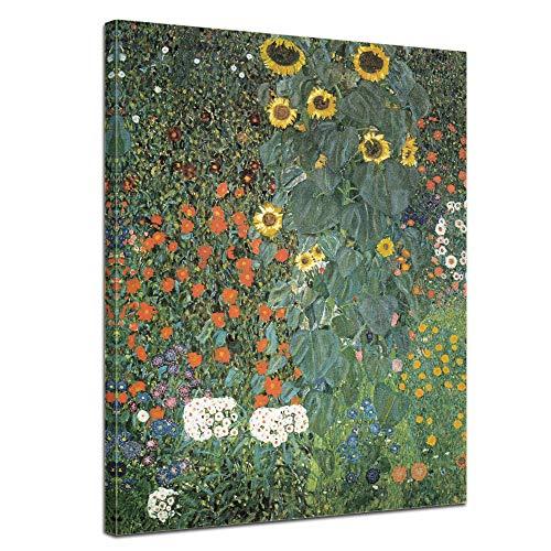 Wandbild Gustav Klimt Bauerngarten mit Sonnenblumen - 50x70cm hochkant - Wandbild Alte Meister Kunstdruck Bild auf Leinwand Berühmte Gemälde