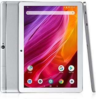 Dragon Touch K10 Tablet 10.1 Pulgadas 1280x800 HD IPS Tablet Android 8.1 con WiFi Bluetooth Procesador Quad-Core RAM de 2GB 16GB de Memoria Interna Doble Cámara Plateado
