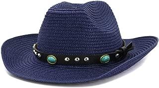 Bin Zhang Straw Western Cowboy Hat Summer Women Men Sun Hat Beach Sun Hat Outdoor Seaside Sunscreen Turquoise Sunhat