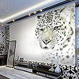 Hhkkck動物白ヒョウ写真壁画カスタマイズされたサイズ不織布3D壁紙リビングルームテレビソファ背景モダンなシンプルな家の装飾-160X120Cm