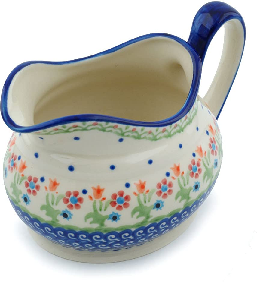 Polish Pottery Gravy Boat 23 oz Spring Flowers