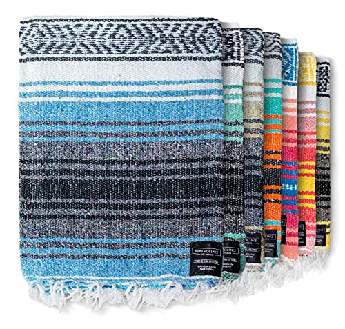 Authentic Mexican Blanket - Picnic Blanket, Handwoven Serape Blanket, Perfect as Beach Blanket, Picnic Blanket, Outdoor Blanket, Yoga Blanket, Camping Blanket, Car Blanket, Woven Blanket (Sky Blue)