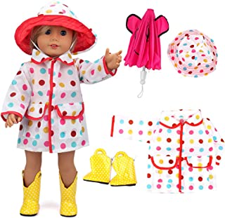 VAMEI 18 Pulgadas Doll Clothes Rain Coat para Dolls con Hot Pink Umbrella, Botas Amarillas Amarillo Colorful Dot Hat