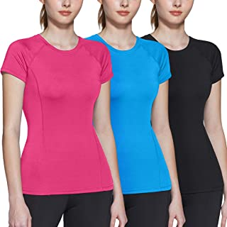 ATHLIO 3 Pack Women's Short Sleeve Workout Shirts, Moisture Wicking Sports Tops, Active Sports Running Exercise Gym Tee Shirt