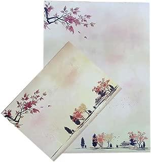 Set of 10 Chinese Style Beautiful Antiquity Envelope Set Writing Paper, Autumn