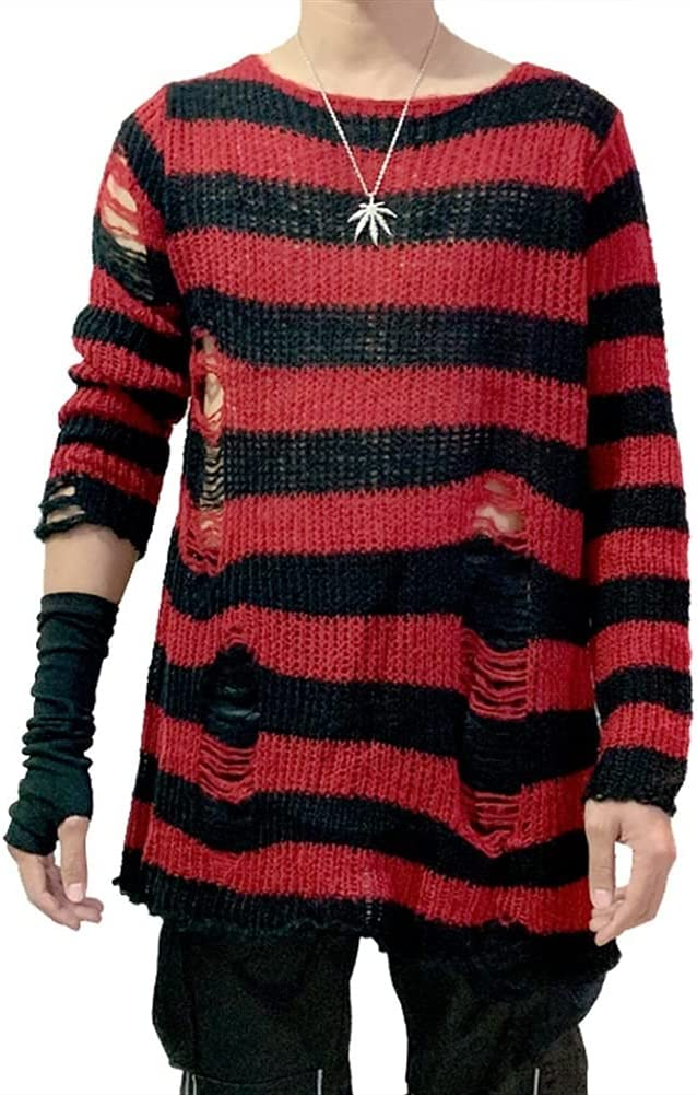 YGNN Men's Punk Gothic Striped Long Jumper Knit Sweater Stretch Thin Hollow Out Pullover Casual Top #, (Color : A28, Size : One Size)