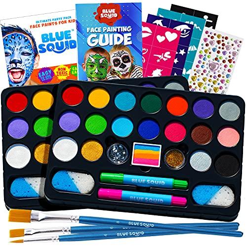 Kinderschminke Set Party Set von Blue Squid 49 teiliges 17-Farben für lebendige Körperbemalungen Haarkreide-Stifte, Gems, Schablonen, Glitzer Schminke, professionelles Pinsel Set (1 Pack)